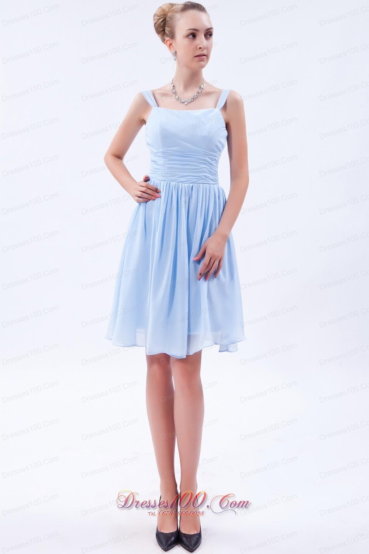 Light sky blue empire bridesmaid dress straps knee length new light sky blue empire bridesmaid dress straps knee length ombrellifo Image collections
