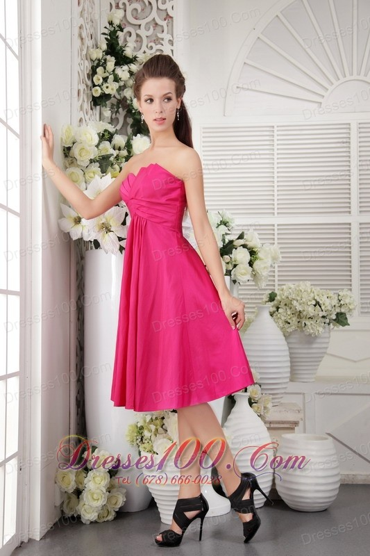 Rose pink empire hot pink bridesmaid maxi dress strapless Rose pink wedding dress