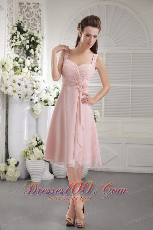 Baby pink princess bridesmaid dress straps tea length new for Baby pink wedding dress