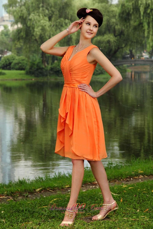 Orange Empire Junior Bridesmaid Dress V-neck Gather