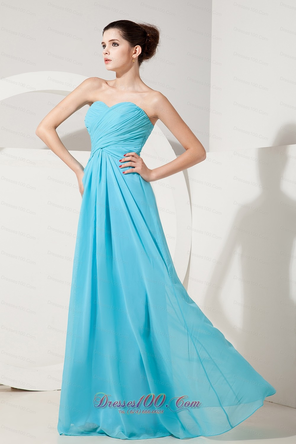 Aqua blue empire gather bridesmaid dress sweetheart ruch for Aqua blue dress for wedding