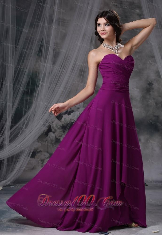 Dark Magenta Prom Evening Dress Brush Train Sweetheart |Most ...
