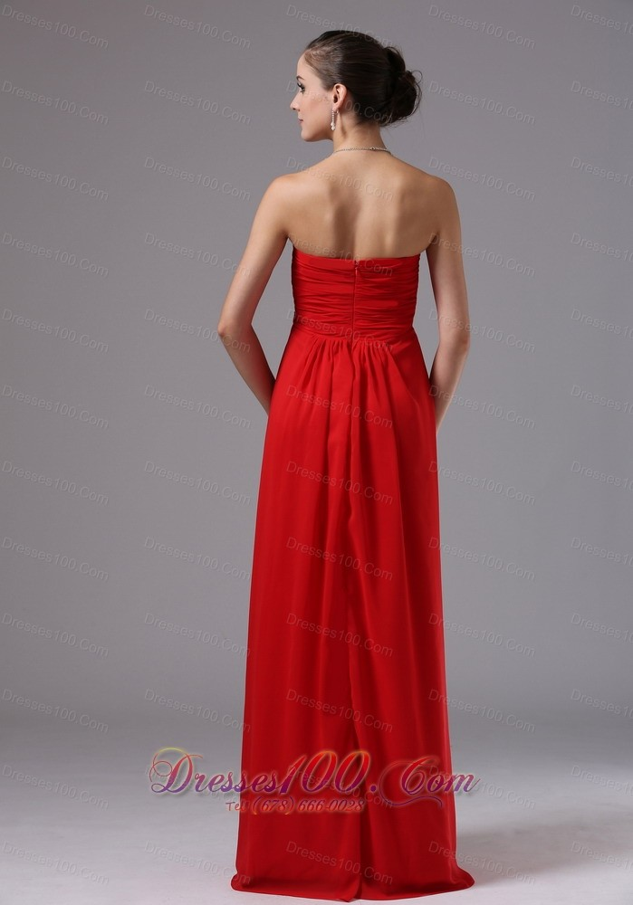 Tomato red sweetheart prom evening gowns ruch chiffon for Wedding dresses burlington nc