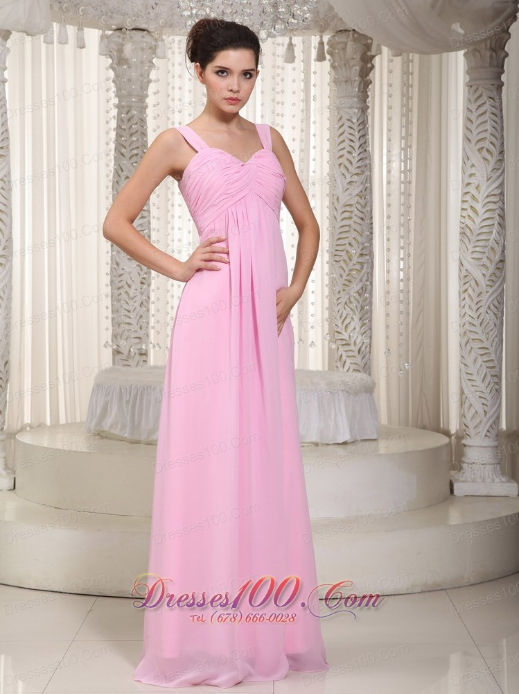 Straps Empire Misty Rose Pink Prom Dress Maxi Ruch |New Bridesmaid ...
