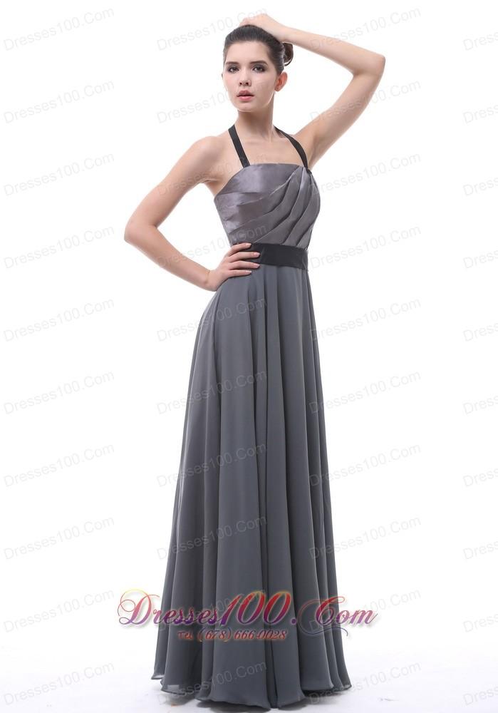 Halter dark grey belt bridesmaid dress ruffles 2013 cheap for Dark grey wedding dresses