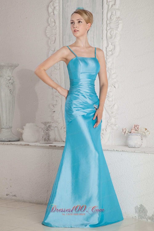 Aqua Blue Column Straps Bridesmaid Dress Beads Ruched |New ...