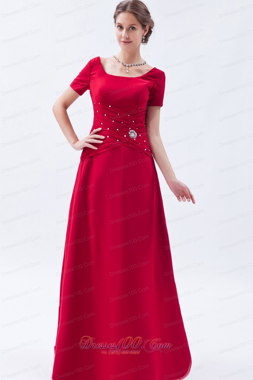 Scoop Chief Bridesmaid Dress Beading Wine Red Empire |Cheap Mother ...