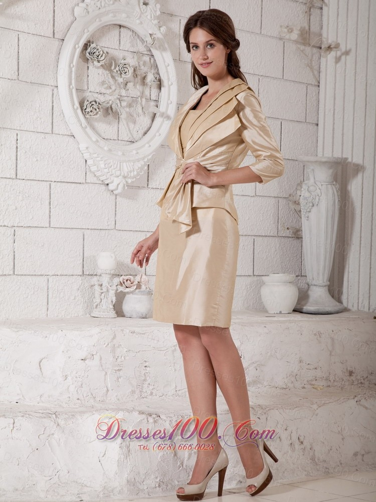 Champagne mother in law dresses knee length new arrival for Should mother in law see wedding dress
