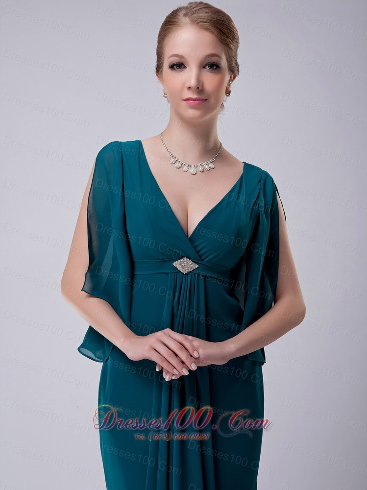 Peacock green v neck mother in law dresses chiffon new for Mother in law wedding dresses
