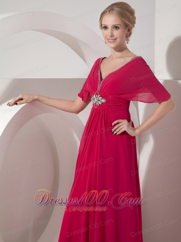 V neck hot pink mother of bride dress half sleeves new for Should mother in law see wedding dress