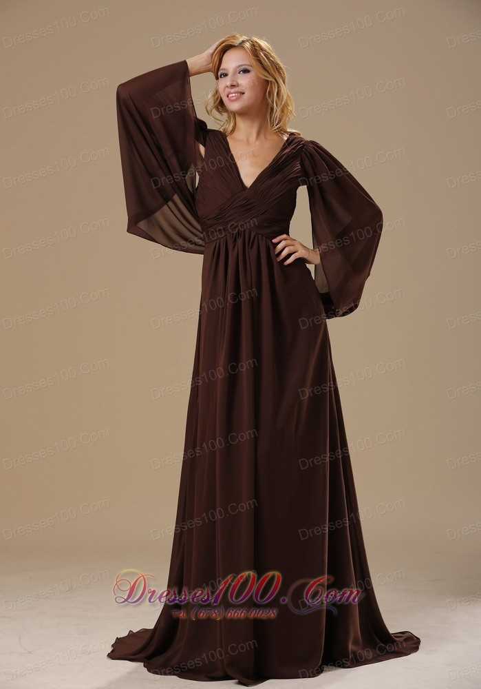 Brown Dresses For A Wedding Of Special Sleeves Dark Brown Chiffon Mother Bride Dress New