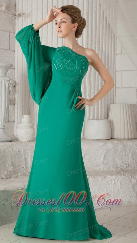 Sea green one shoulder long sleeves mother in law dress for Mother in law wedding dresses