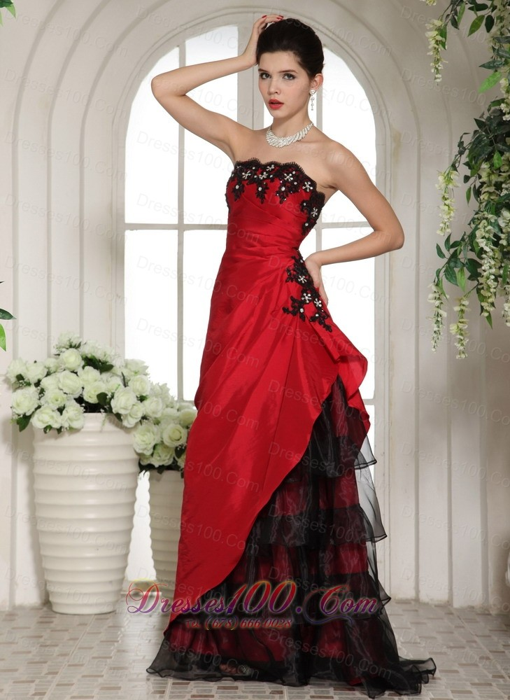 Wine Red and Black Applique Prom holiday dress |Discount ...