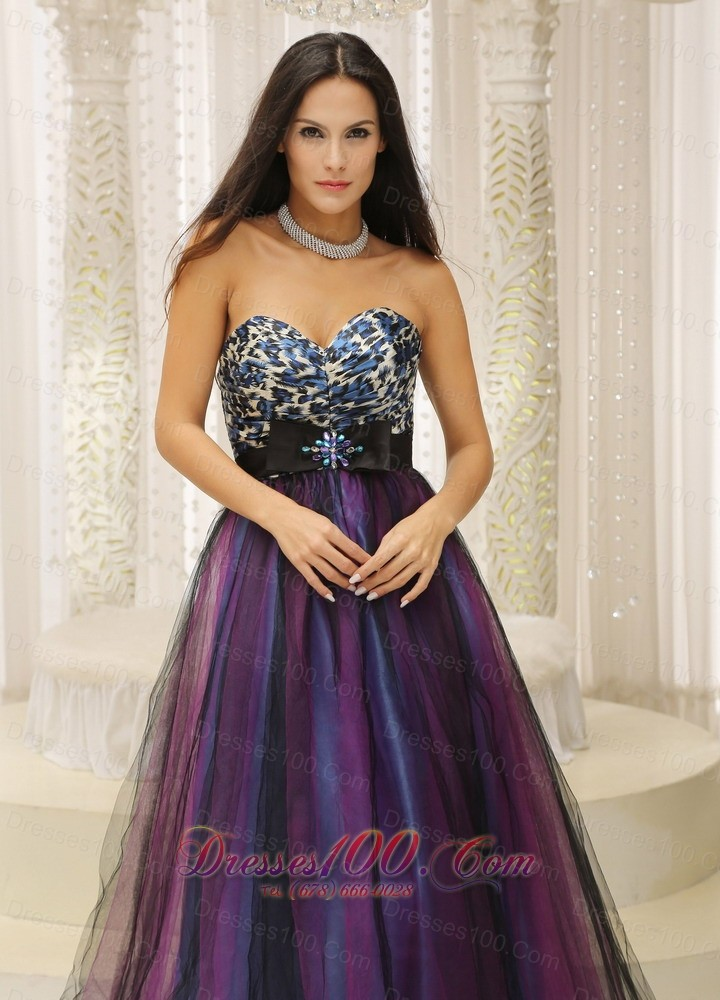 leopard tulle dresses for quinceanera colorful belt
