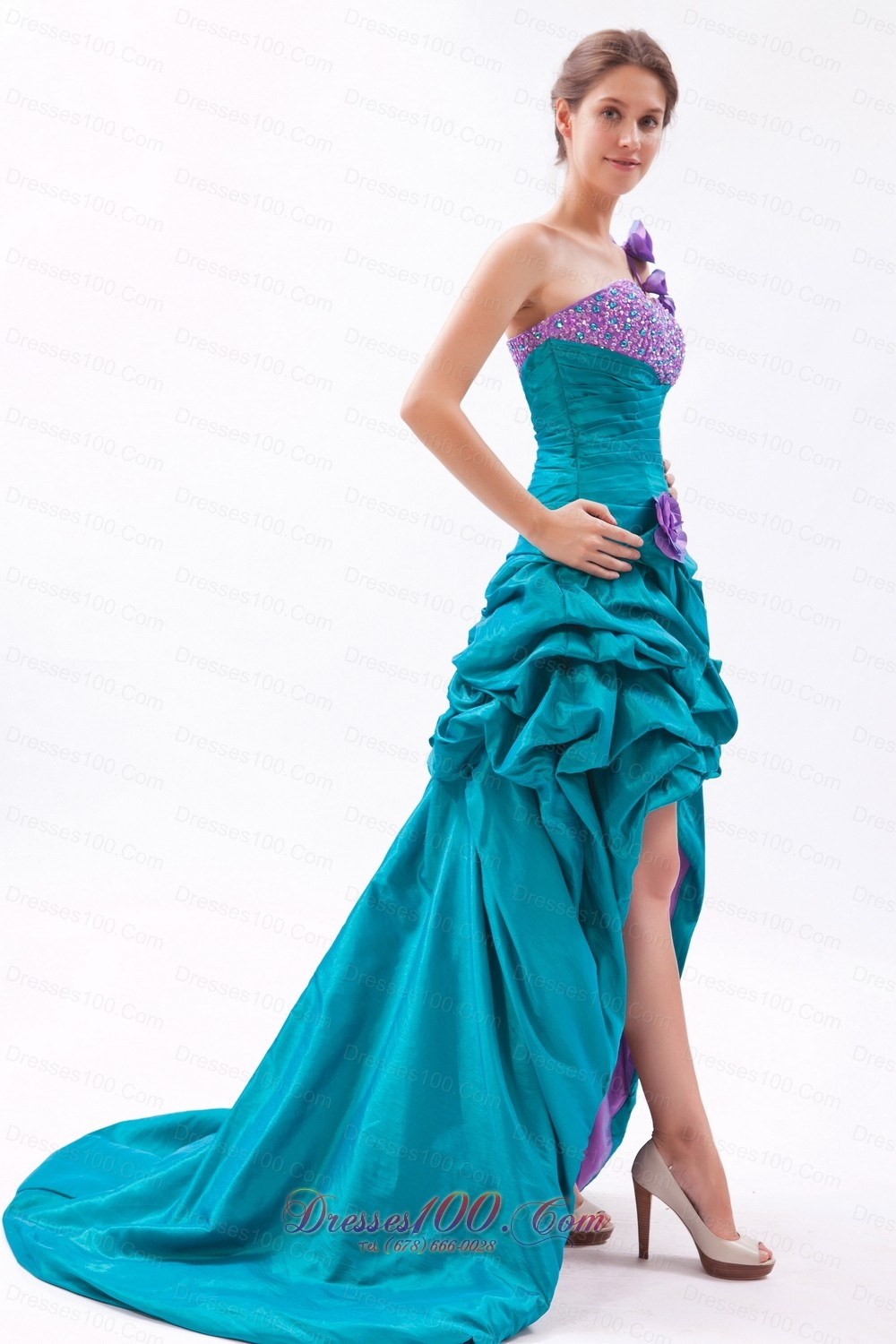 Teal and Lavender One Shoulder High-low Beading Prom Dress ...
