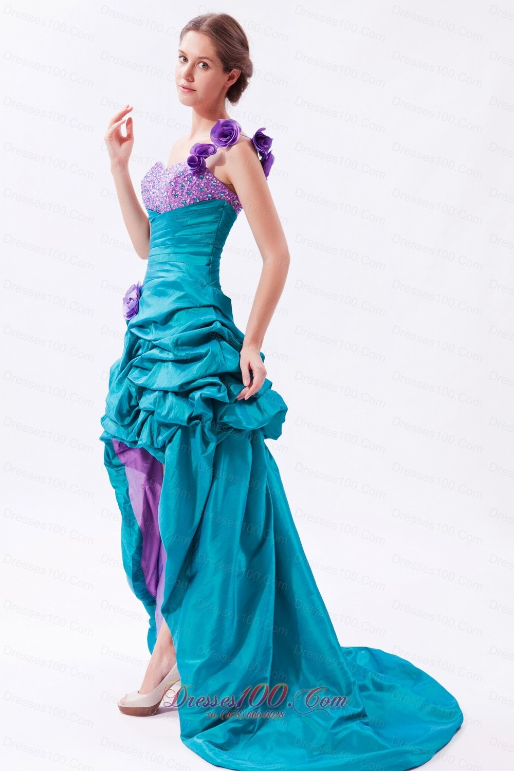 Teal and Lavender One Shoulder High-low Beading Prom Dress |Discount ...