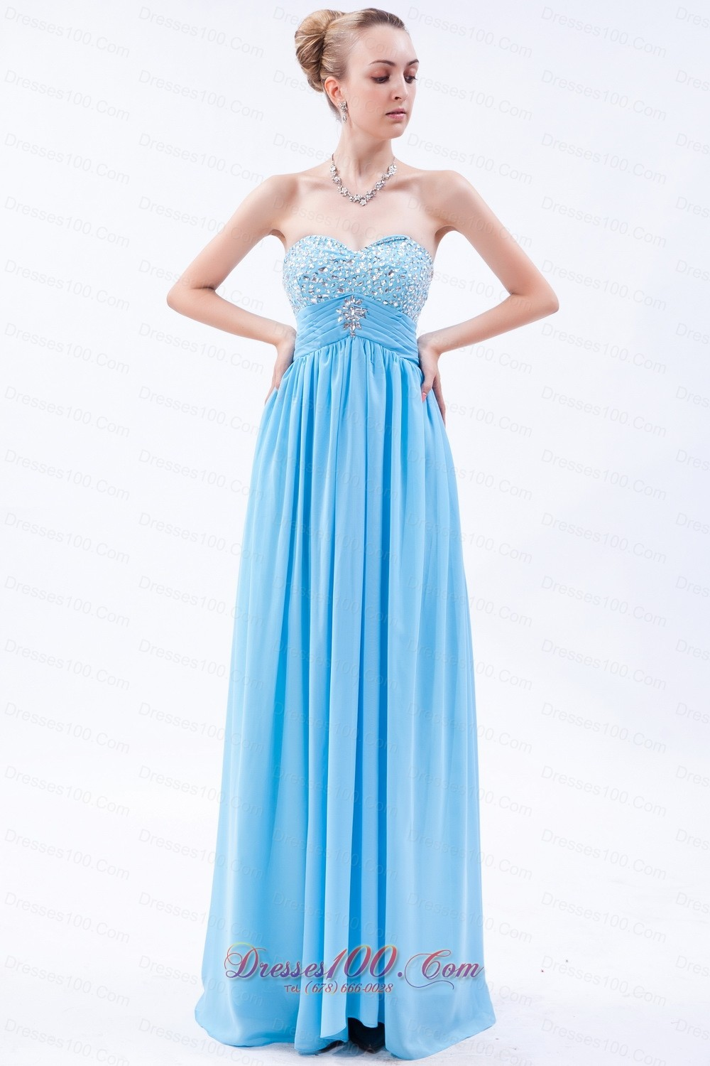 Baby Blue Empire Beaded Bust Prom Dress Pleating |Discount Prom Dresses