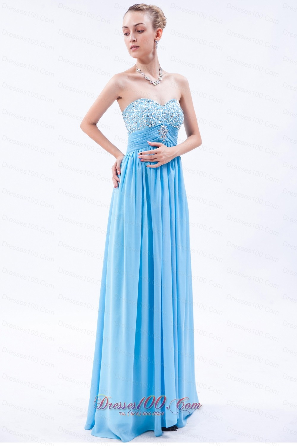 Baby Blue Empire Beaded Bust Prom Dress Pleating |Discount Prom ...