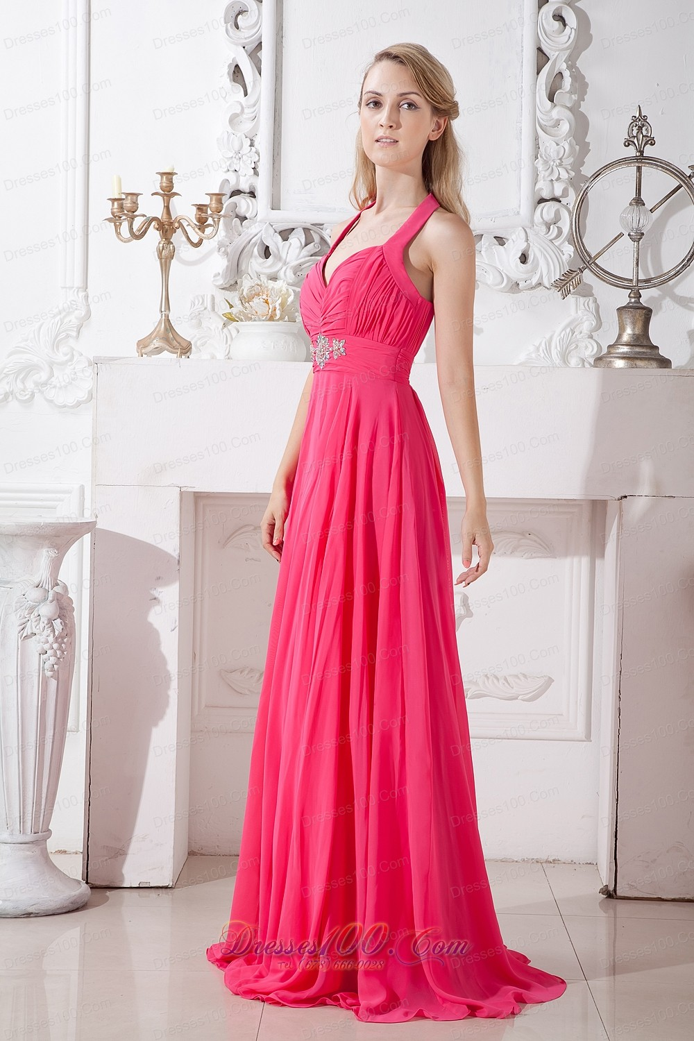 Hot Pink Beaded Prom Dresses