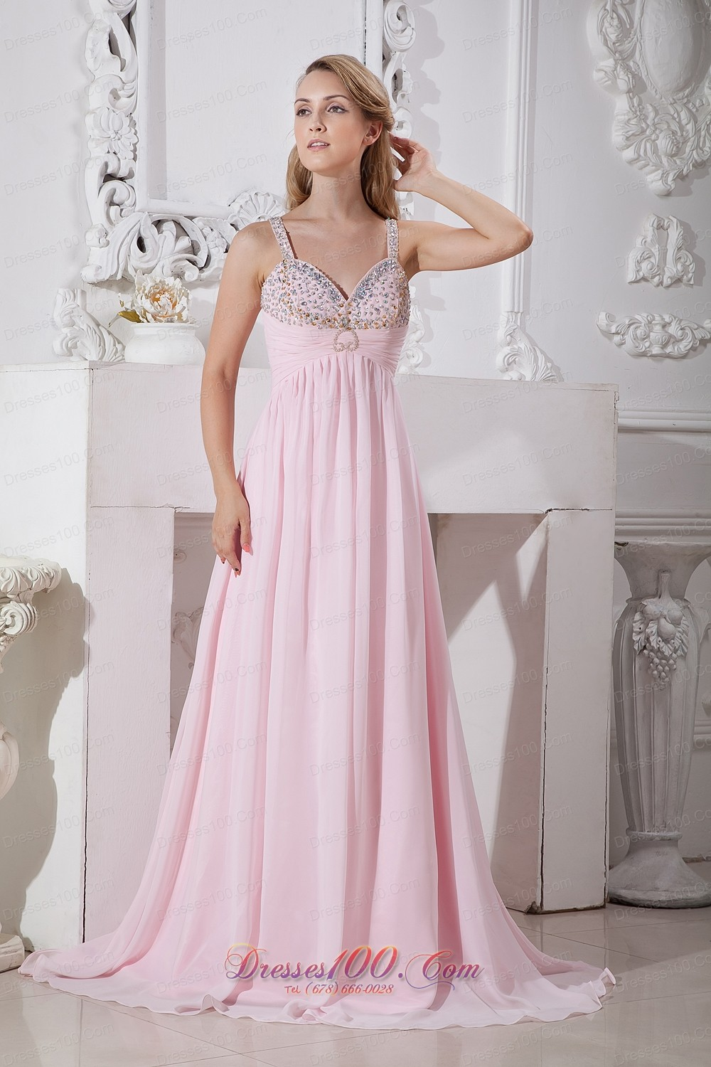 Light Pink Straps 2013 Prom Dress Beading |Discount Prom Dresses