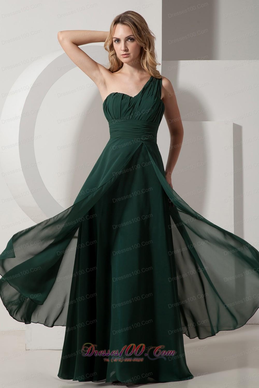 Under 100 Prom Dress in Dark Green One Shoulder  Discount Prom Dresses