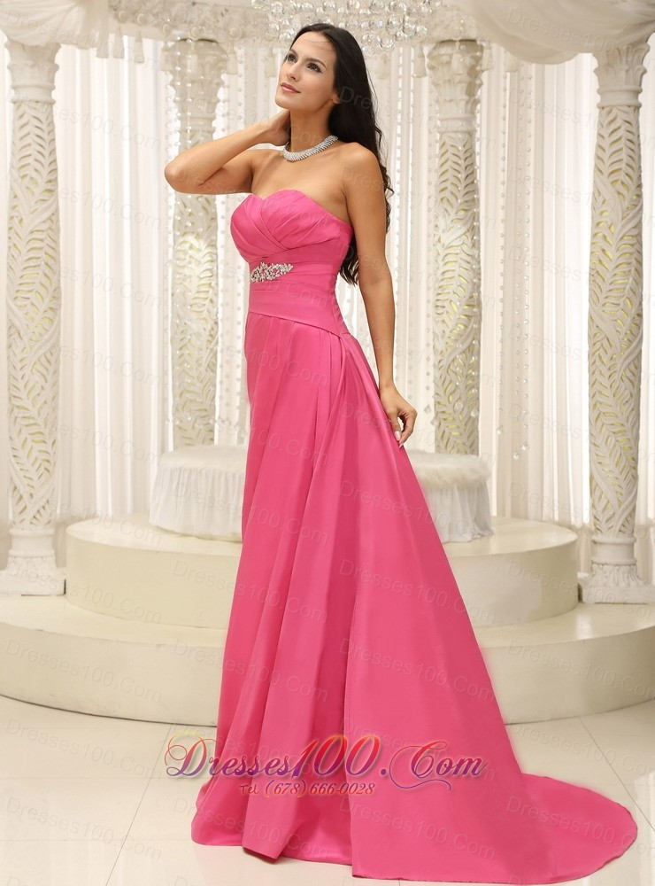 Rose pink bridesmaid dress for wedding appliques prom for Rose pink wedding dress