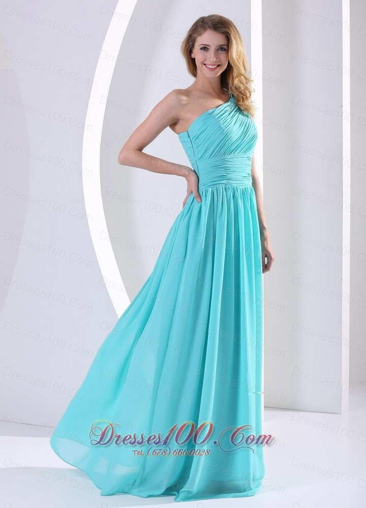 One shoulder aqua blue bridesmaid dress ruching prom for Aqua blue dress for wedding