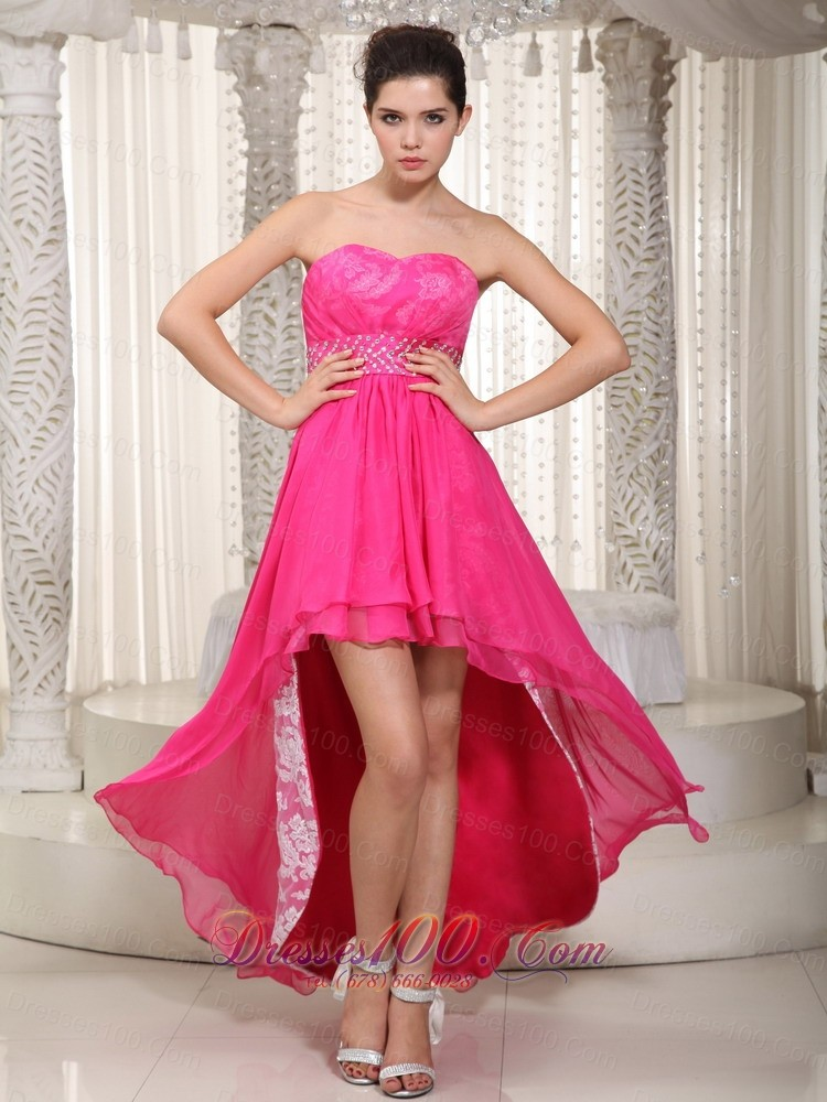Hot Pink High-low Beading Prom Evening Dress Lace |High Low Prom Dresses