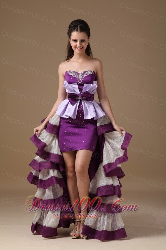 Multi-Color High-low Prom Dress Beading Ruffles Bow |High Low Prom ...