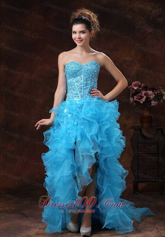 Hi-lo Blue For Sassy Prom Dress Beaded and Ruffles  Discount Prom ...