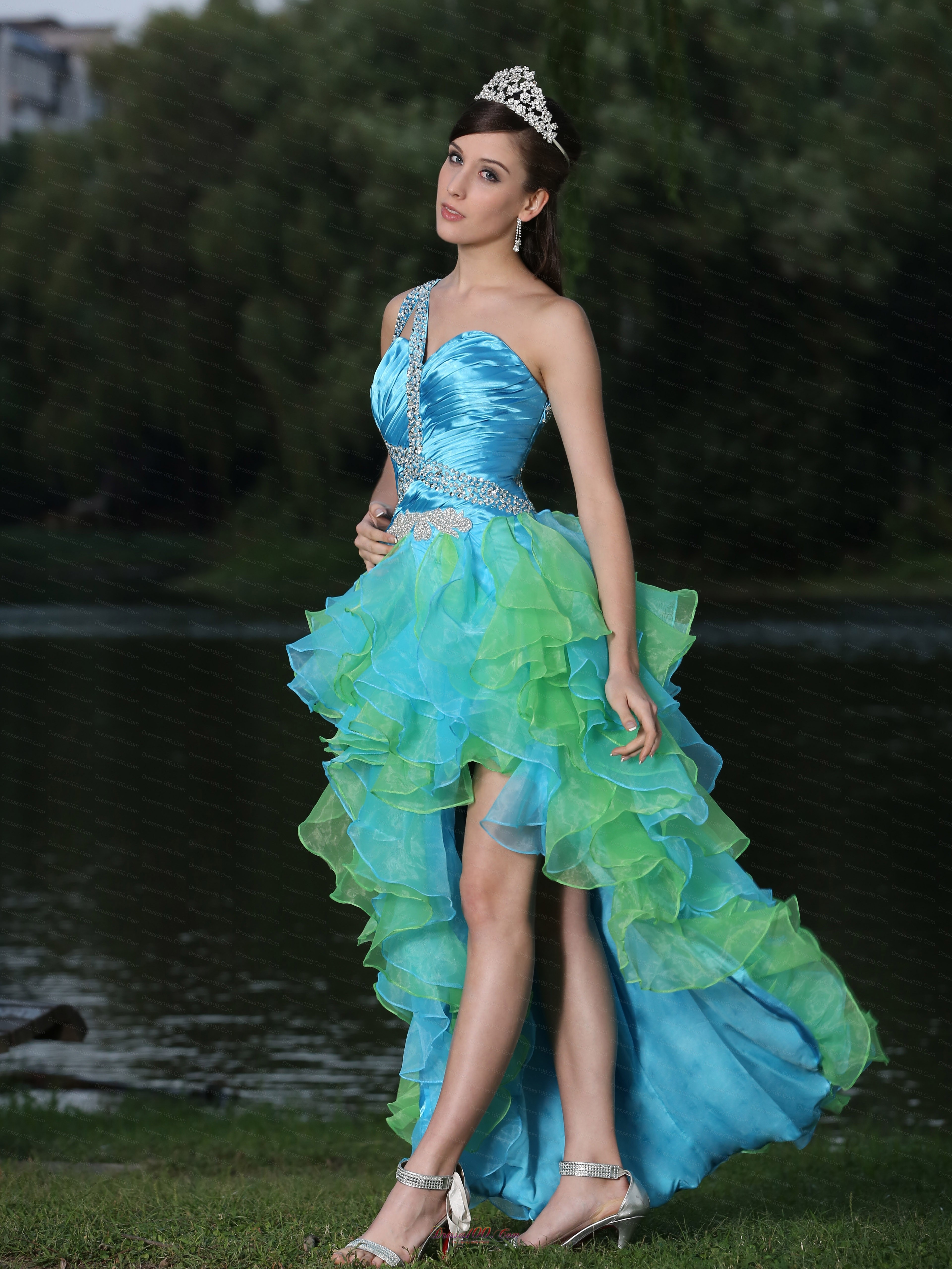 Multi-color Evening Dress High-low Ruffles |High Low Prom Dresses