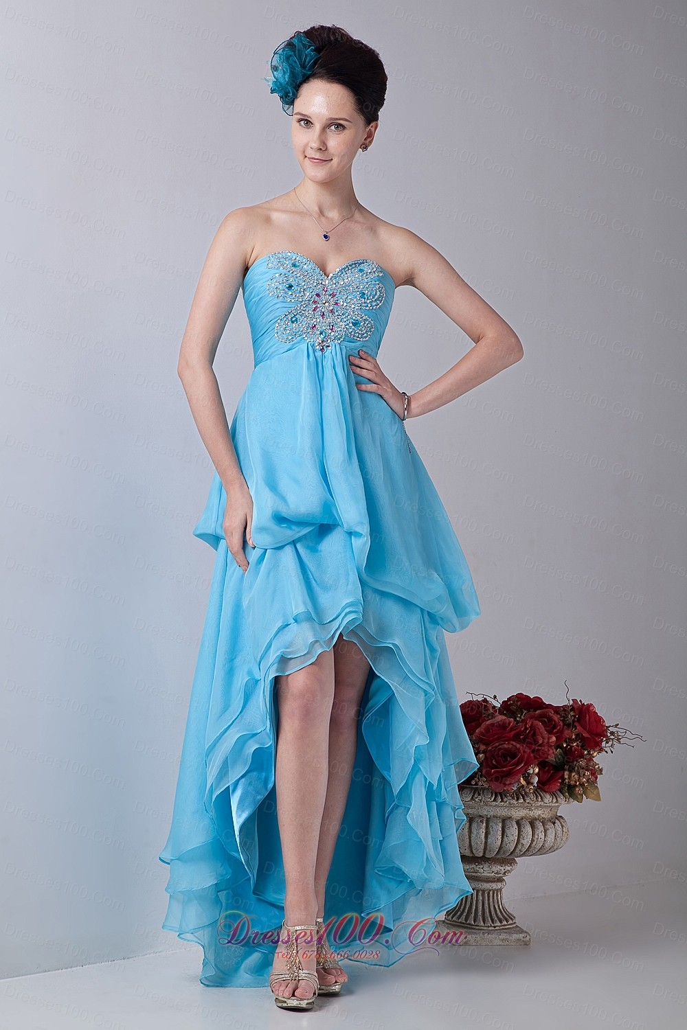Baby Blue Tiered Prom Homecoming Dress High-low |Perfect Prom Dresses