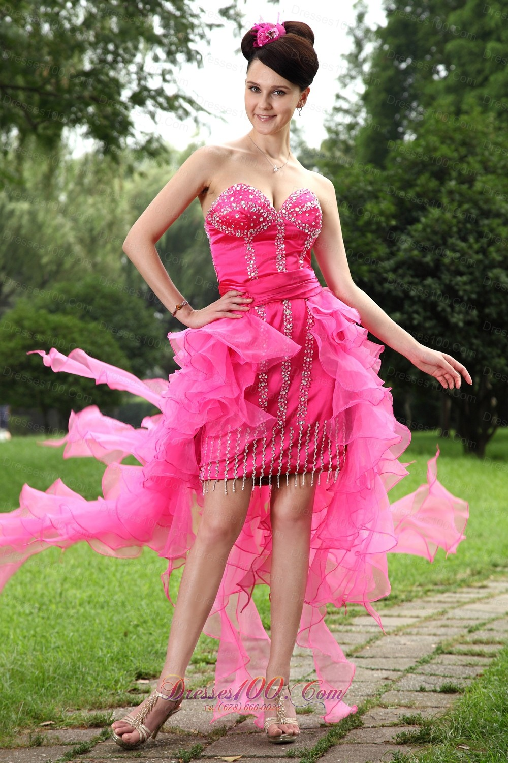 Hot Pink High Low Beading Homecoming Dress Ruffles |Prom Dresses on Sale