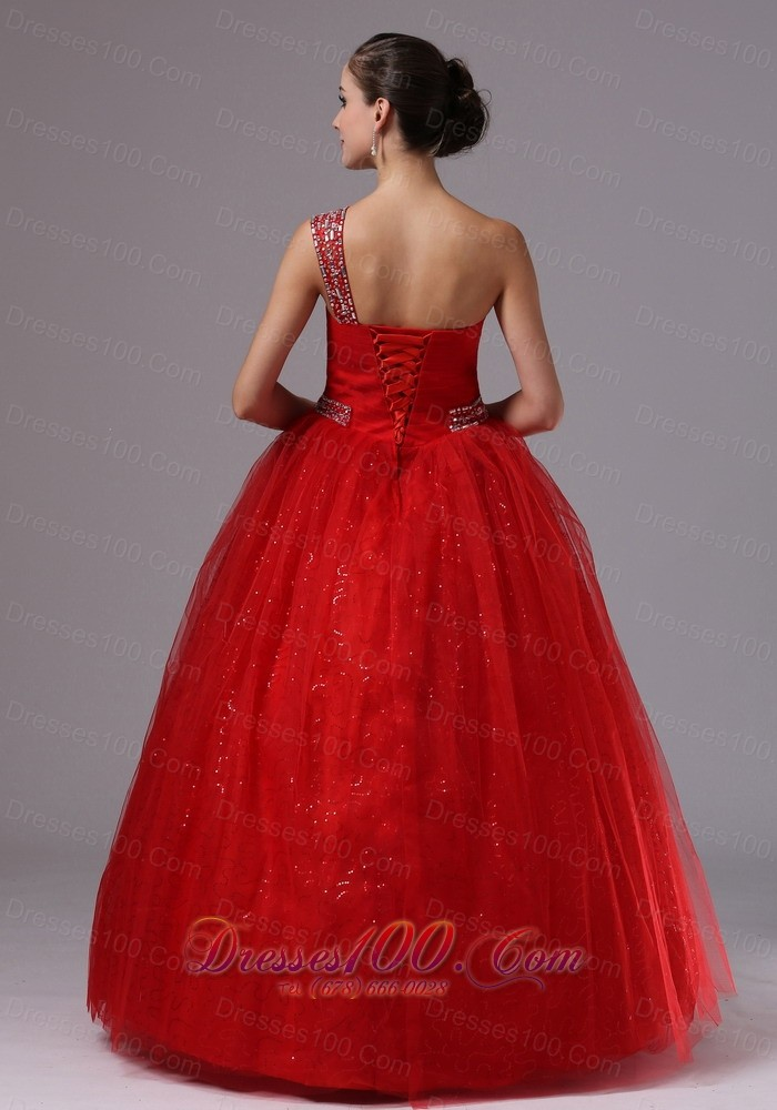 Paillette Red Military Gowns Beaded One Shoulder