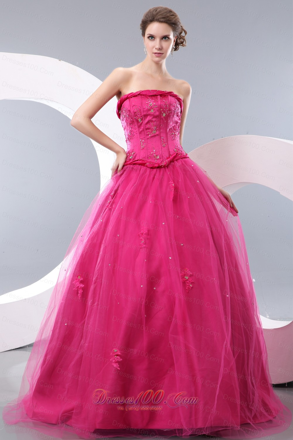 Rope Waistband Hot Pink Prom Dress with Tulle Layer |Cheap ...