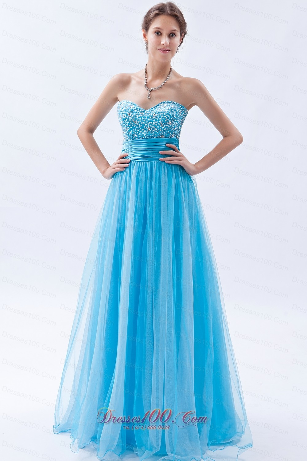 Baby Blue Tulle Princess Prom Dress Beadings Ruched |Perfect Prom ...