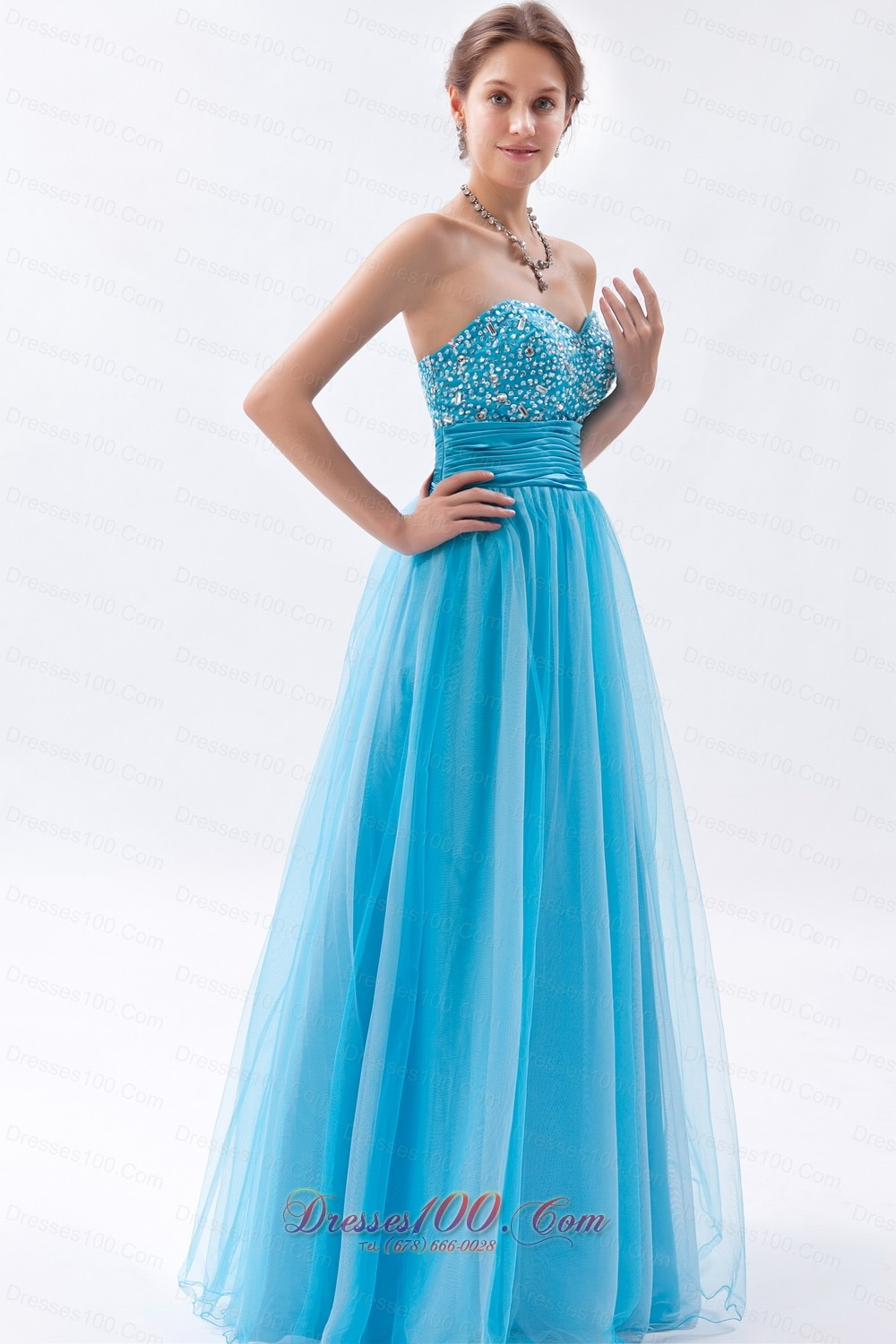 Baby Blue Tulle Princess Prom Dress Beadings Ruched