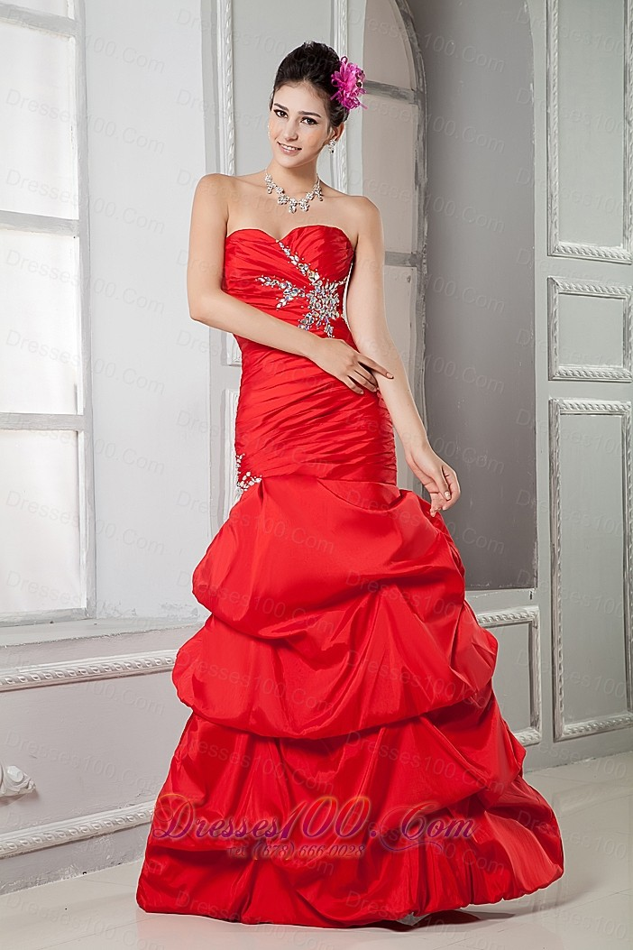 Red Taffeta Mermaid Beading Prom Gown Ruched Pick Up