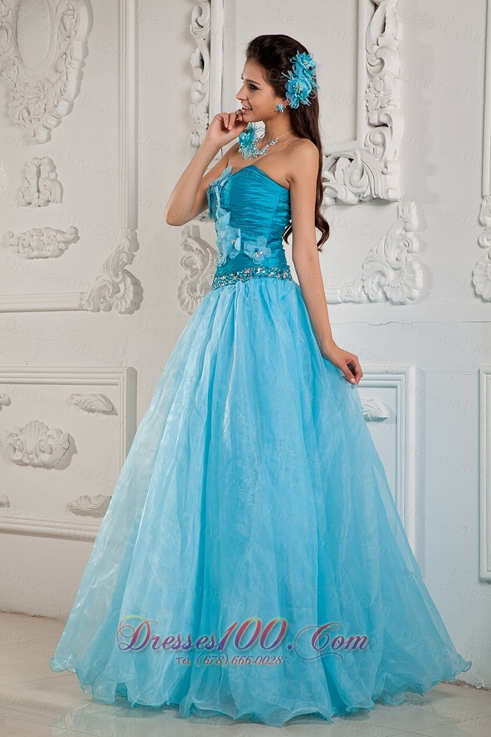 Handmade Flower Teal Ruched Prom Dress 2014 for women |Fashionable ...