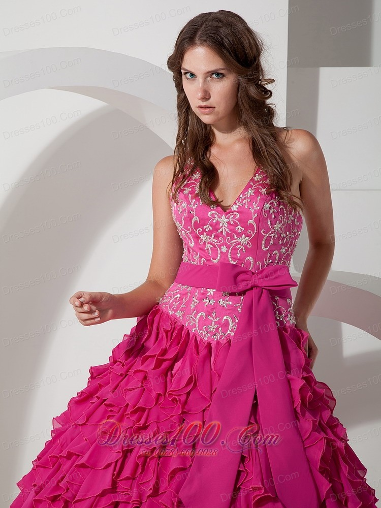 Hot Pink Halter Chiffon Quinceanera Dress Layer