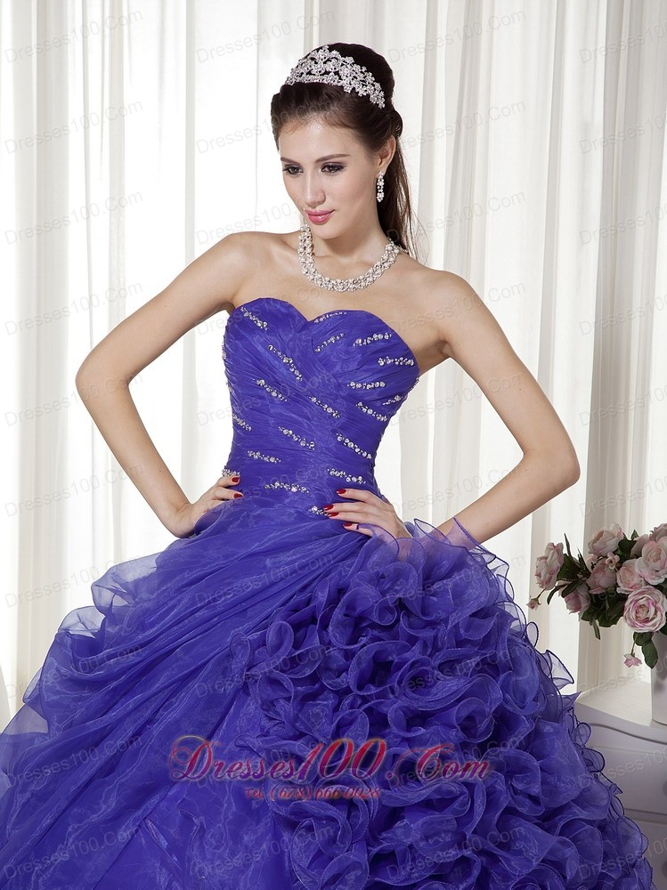 Affordable Blue Sweetheart Organza Quinceanera Dress 2013