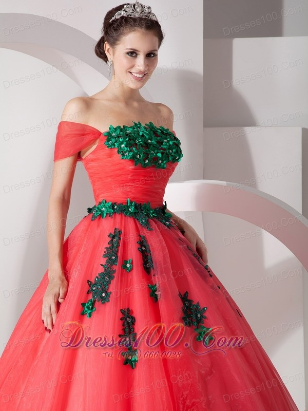 Coral Red Hand Made Flower Off the Shoulder Quince Dress