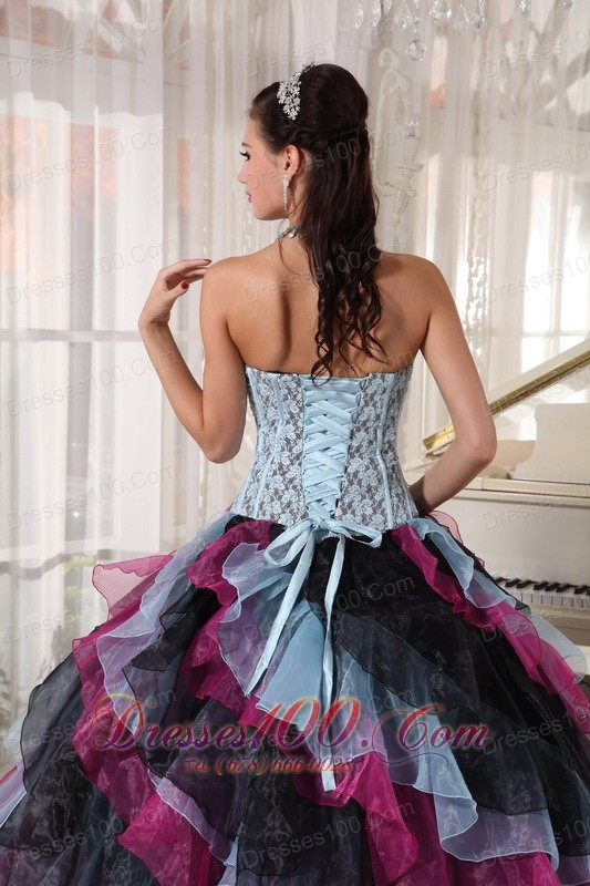 Colorful Quinceanera Dress Layer Floor Length