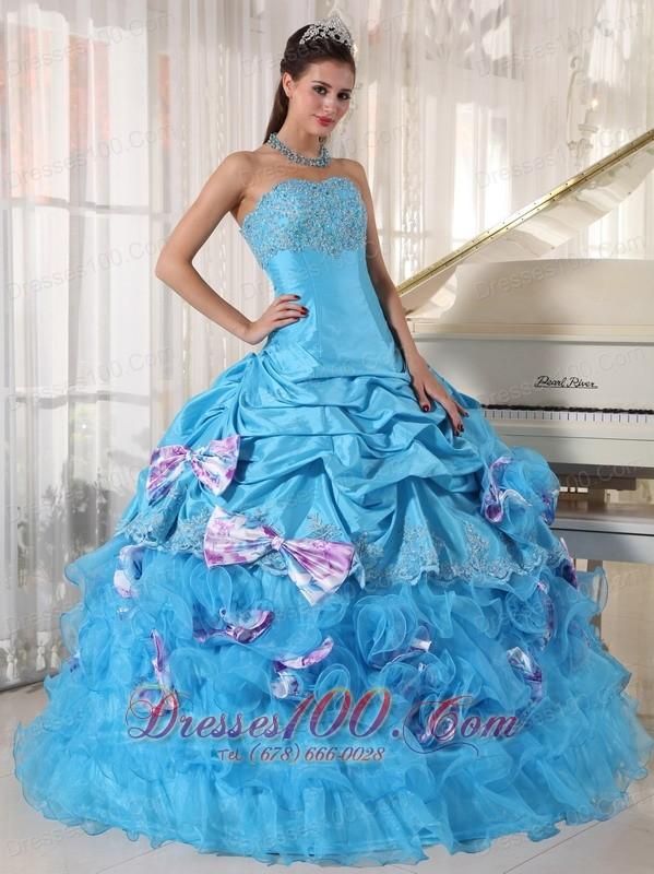 Aqua Quinceanera Dress Pick-ups Hand Made Flower Decorate