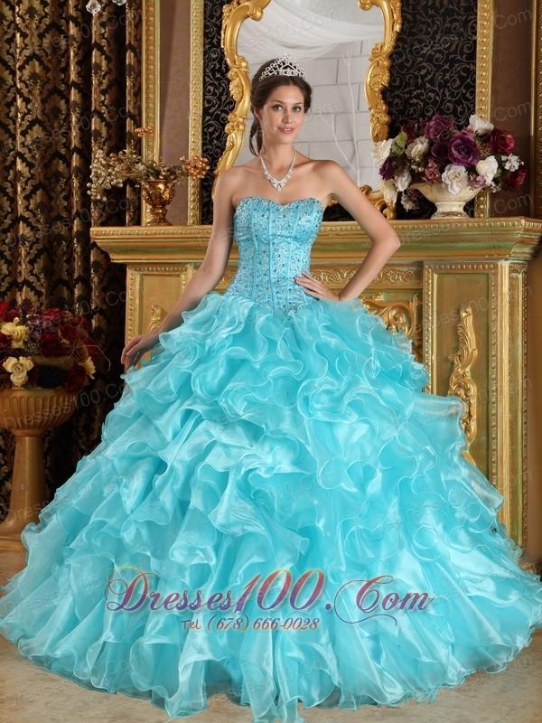 Quinceanera Dress Aqua Blue Sweetheart Floor-length Beading