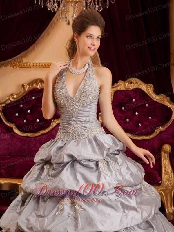 Multi-tiered Gray Quinceanera Dress Taffeta Halter