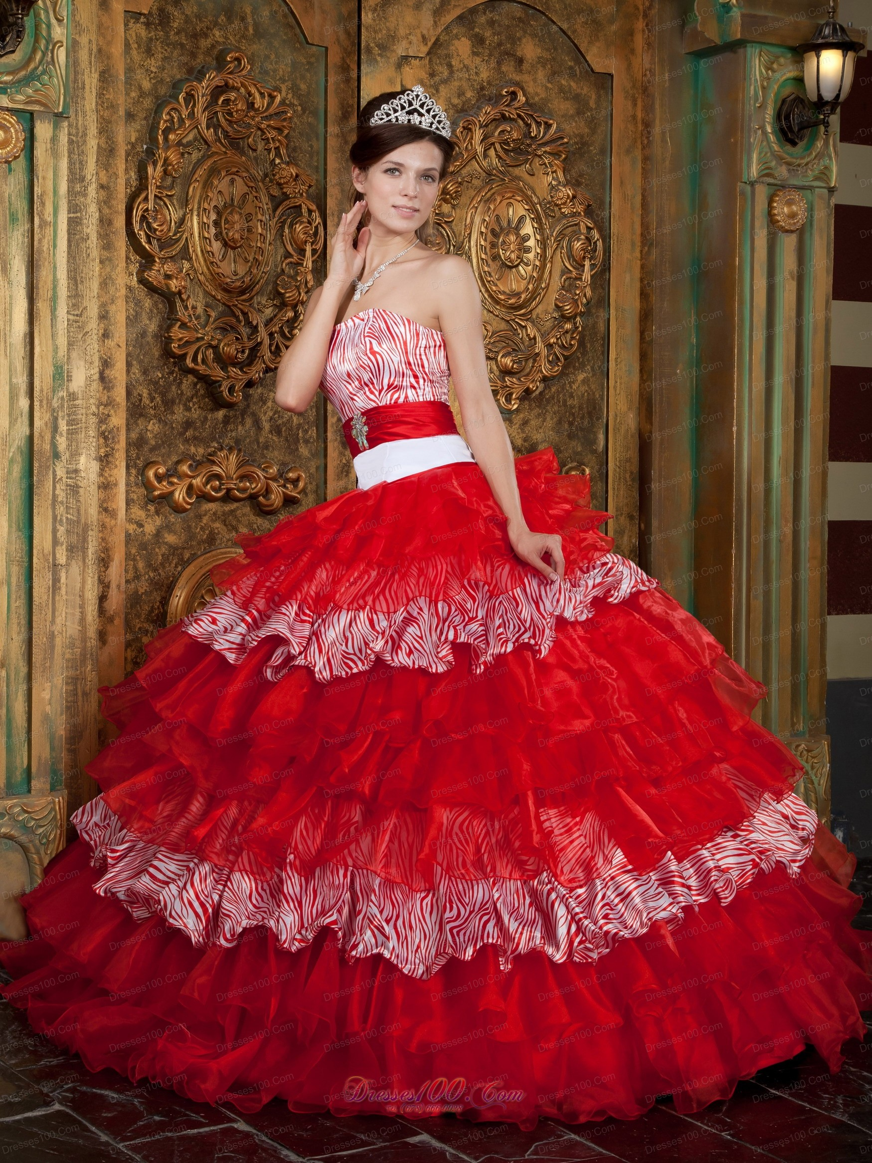 Quinceanera Dresses, Red and Zebra Print Ball Gown Quinceanera Dress