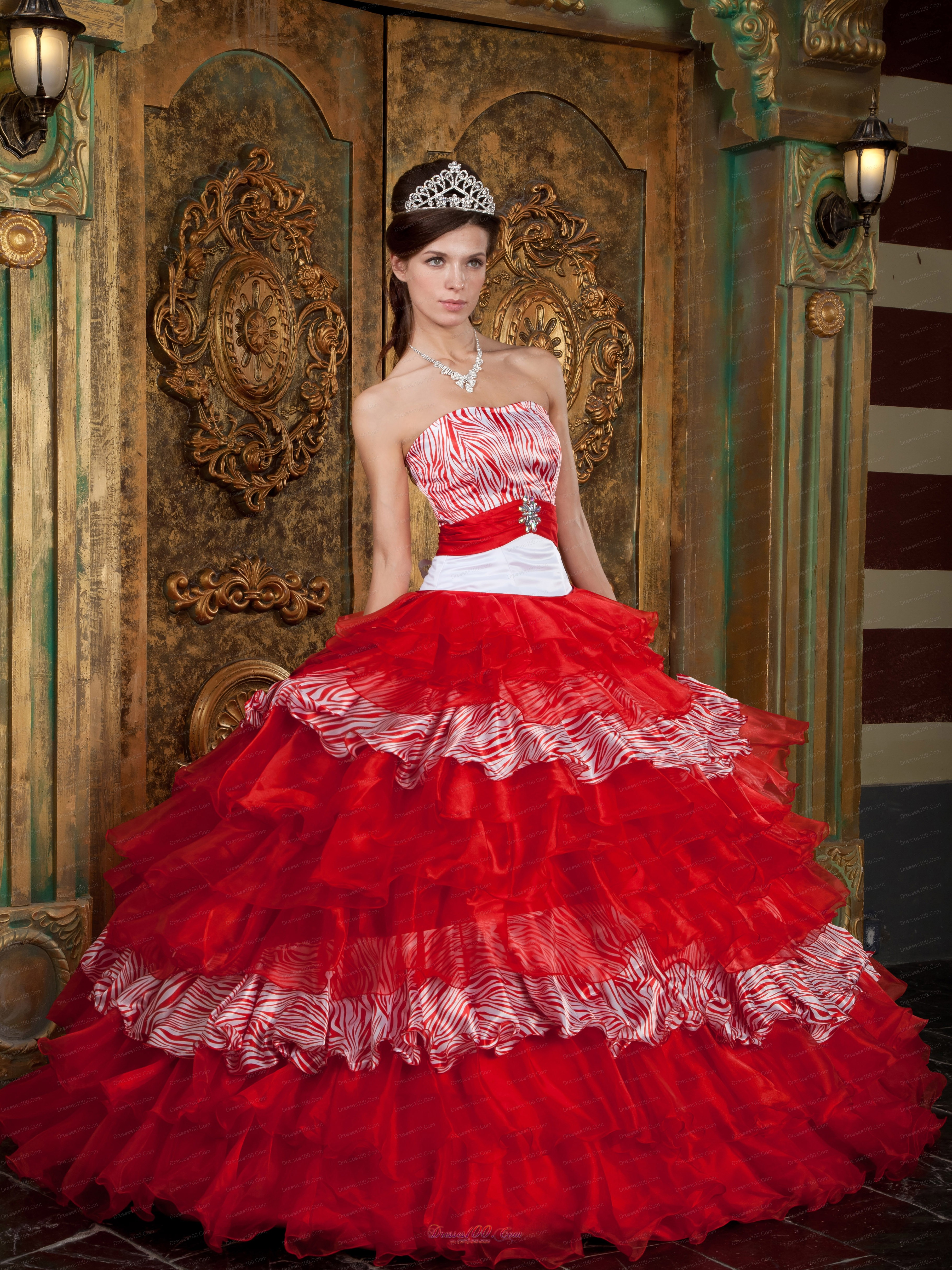 Red and Zebra Print Ball Gown Quinceanera Dress Layer