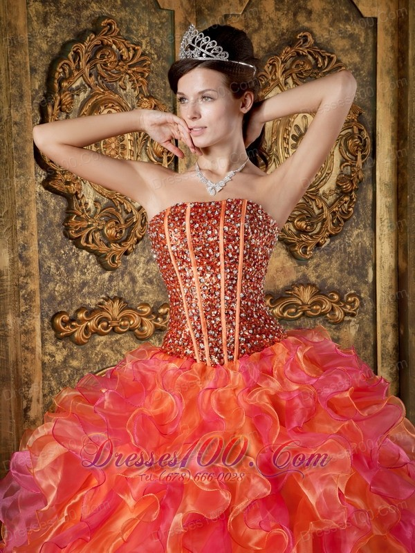 Strapless Multi-color Ball Gown Quinceanera Dress