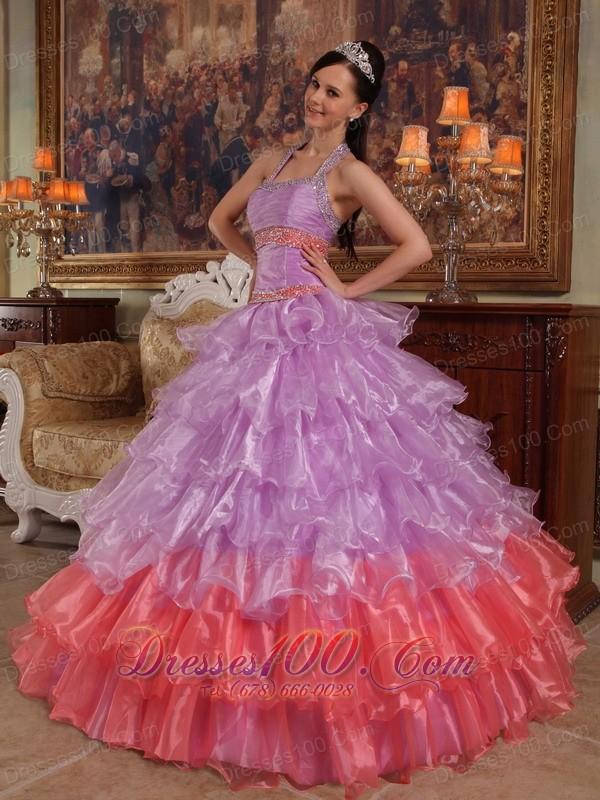 Lavender Quinceanera Dress Halter Organza for Summer
